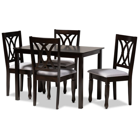 Baxton Studio Reneau Fabric Espresso Brown Wood 5-Piece Dining Set