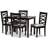 Baxton Studio Lanier Fabric Espresso Brown Wood 5-Piece Dining Set