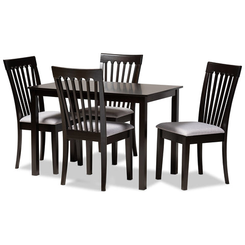 Baxton Studio Minette Fabric Espresso Brown Wood 5-Piece Dining Set