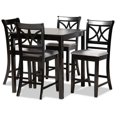 Baxton Studio Chandler Espresso Brown Wood 5-Piece Counter Height Pub Dining Set