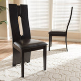 Baxton Studio Alani Dark Brown Faux Leather Upholstered Dining Chair, Set of 2