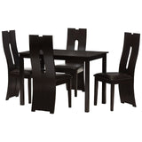 Baxton Studio Alani Dark Brown Faux Leather Upholstered 5-Piece Dining Set