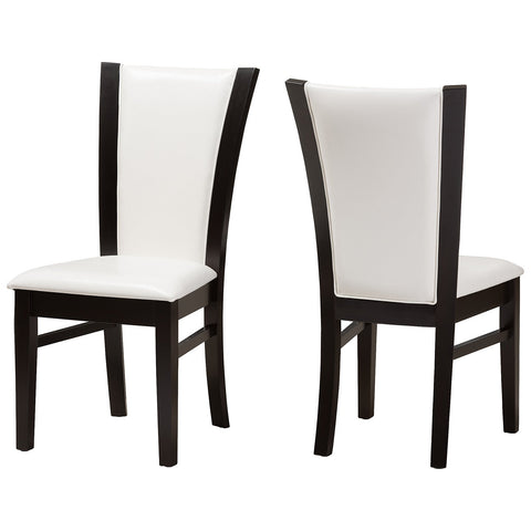 Baxton Studio Adley Dark Brown White Faux Leather Dining Chair, Set of 2