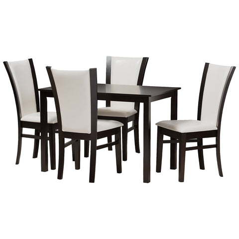 Baxton Studio Adley 5-Piece Dark Brown Finished White Faux Leather Dining Set