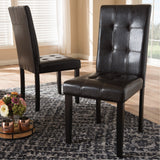 Baxton Studio Avery Dark Brown Faux Leather Upholstered Dining Chair, Set of 2