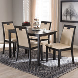 Baxton Studio Evelyn Beige Faux Leather and Dark Brown 5-Piece Dining Set