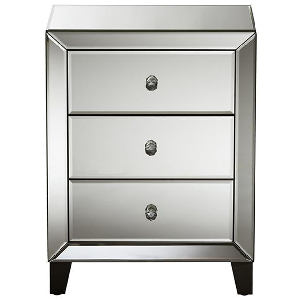 Chevron Hollywood Regency Mirrored 3-Drawers Nightstand Bedside Table