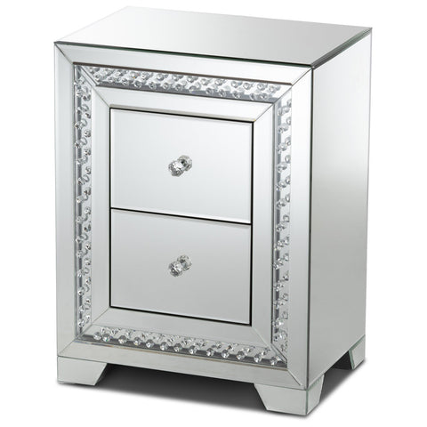 Baxton Studio Mina Hollywood Regency Mirrored 2-Drawer Nightstand Bedside Table