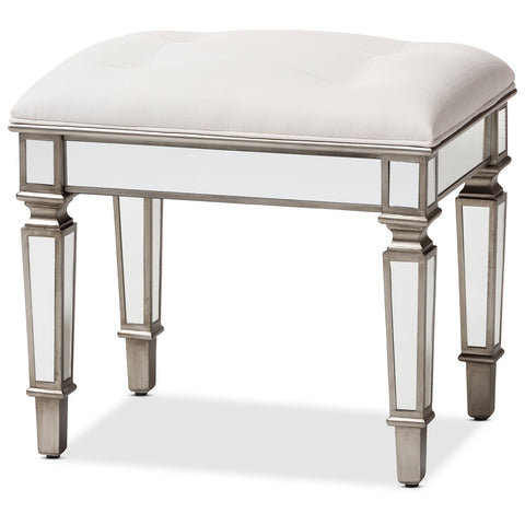 Baxton Studio Marielle Hollywood Regency Off White Mirrored Ottoman Vanity Bench