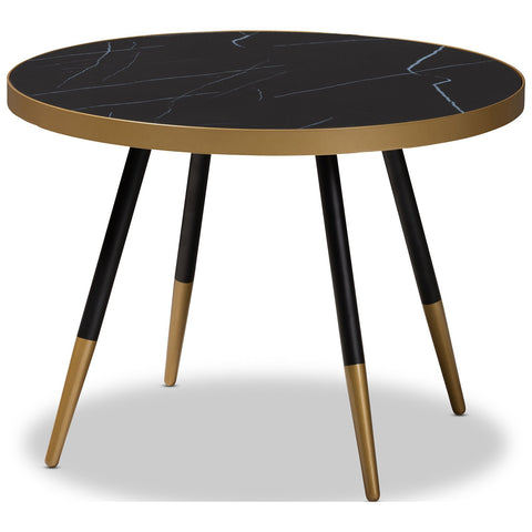Baxton Studio Lauro Round Glossy Marble and Metal Coffee Table