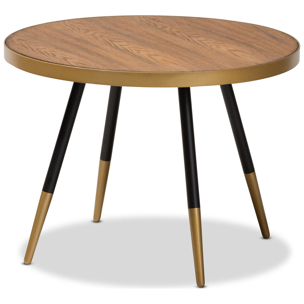 Baxton Studio Lauro Round Walnut Wood and Metal Coffee Table
