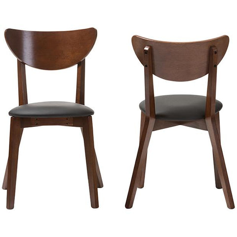 Baxton Studio Sumner Dining Chair in Walnut Brown, Set of 2