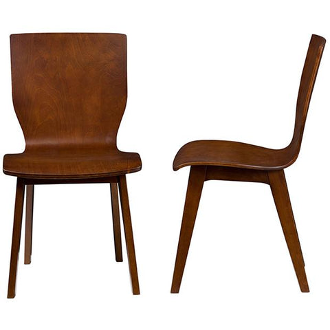 Elsa Mid-century Modern Dark Walnut Bent Wood Dining Chair, Set of 2