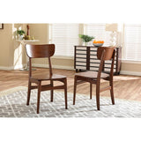 Baxton Studio Netherlands Dining Side Chair in Dark Walnut, Set of 2
