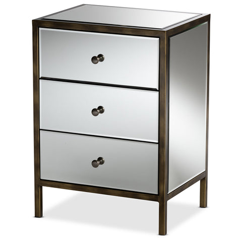 Baxton Studio Nouria Mirrored 3-Drawer Nightstand Bedside Table