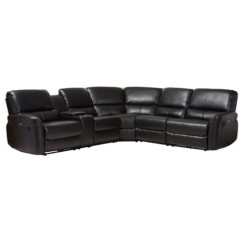 Baxton Studio Amaris 5-Piece Power Reclining Sectional Sofa with USB Ports