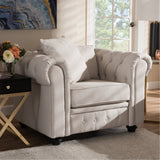 Baxton Studio Alaise Classic Linen Tufted Scroll Arm Chesterfield Chair