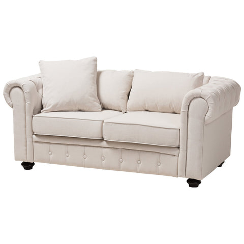 Baxton Studio Alaise Classic Linen Tufted Scroll Arm Chesterfield Loveseat
