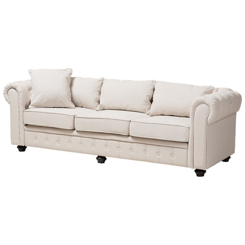 Baxton Studio Alaise Classic Linen Tufted Scroll Arm Chesterfield Sofa