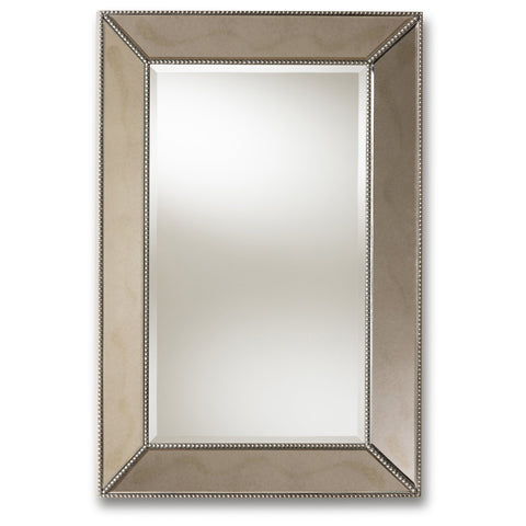 Baxton Studio Emelie Antique Silver Finished Accent Wall Mirror