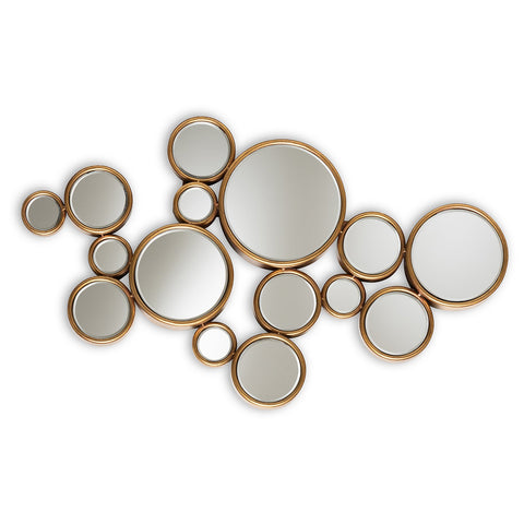 Baxton Studio Cassiopeia Antique Gold Finished Bubble Accent Wall Mirror