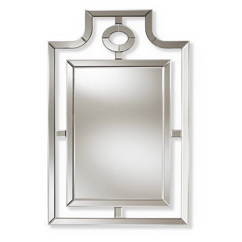 Baxton Studio Iria Silver Finished Pagoda Wall Accent Mirror