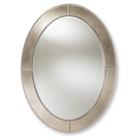 Baxton Studio Branca Antique Silver Finished Oval Accent Wall Mirror