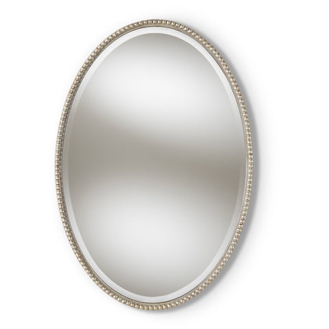Baxton Studio Graca Antique Silver Finished Oval Accent Wall Mirror