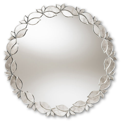Baxton Studio Luiza Silver Finished Round Petal Leaf Accent Wall Mirror