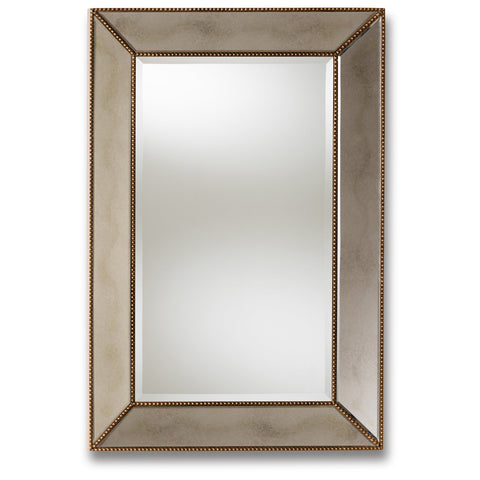 Baxton Studio Neva Antique Gold Finished Rectangular Accent Wall Mirror