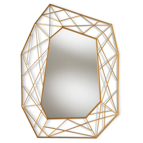 Baxton Studio Oriana Antique Gold Finished Geometric Accent Wall Mirror