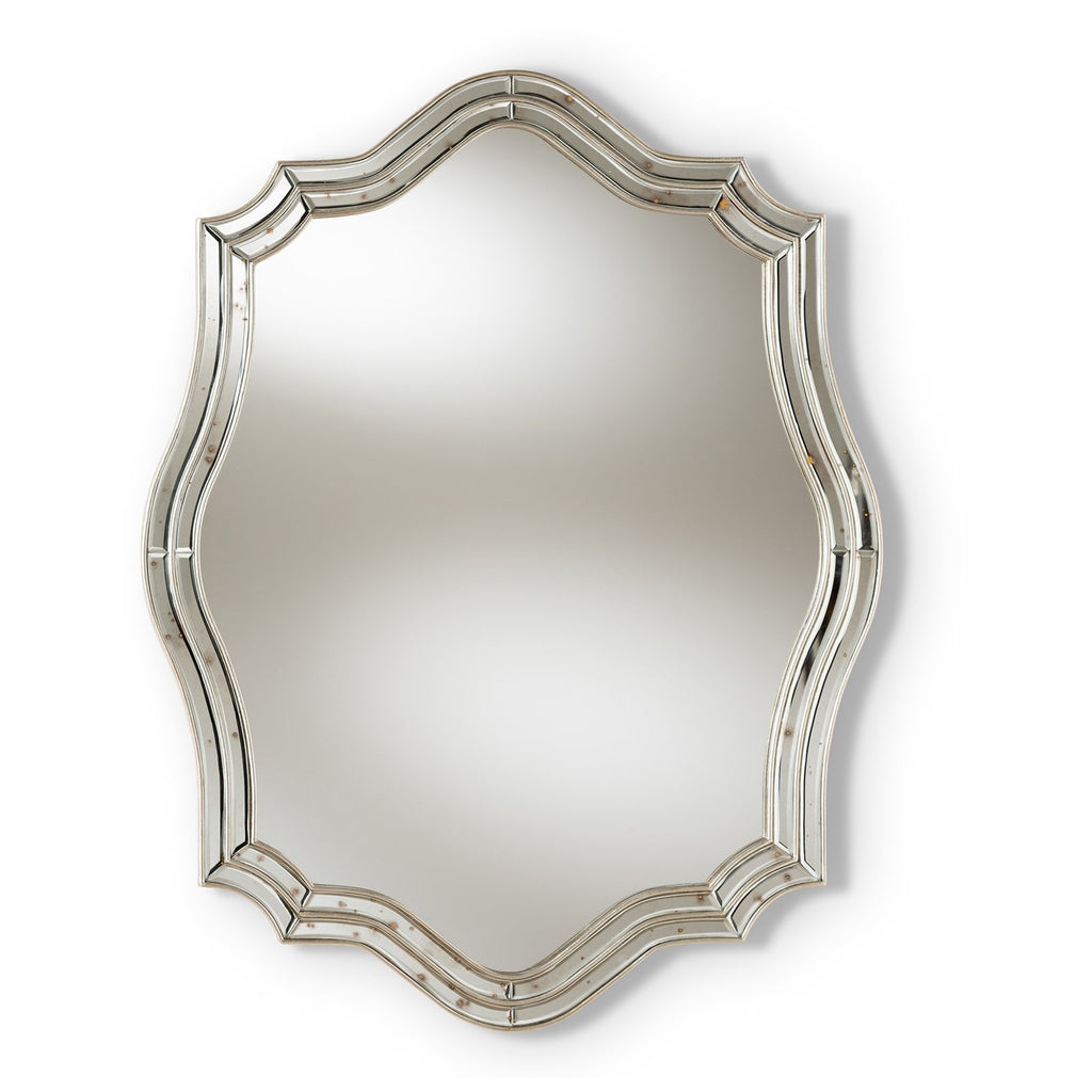 Baxton Studio Isidora Art Deco Antique Silver Finished Accent Wall Mirror