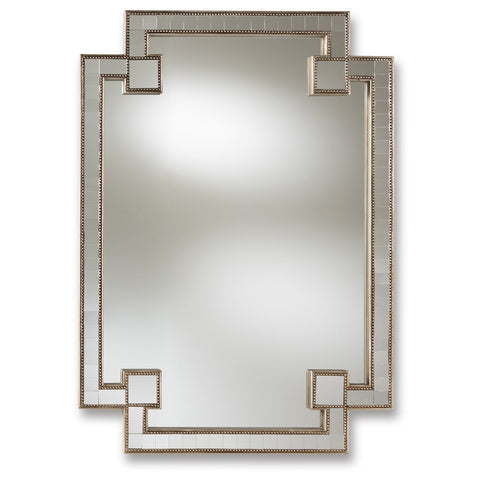 Baxton Studio Fiorella Antique Silver Finished Studded Accent Wall Mirror