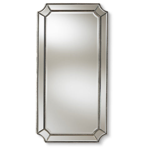 Baxton Studio Romina Art Deco Antique Silver Finished Accent Wall Mirror