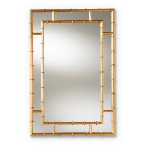 Baxton Studio Adra Gold Finished Bamboo Accent Wall Mirror