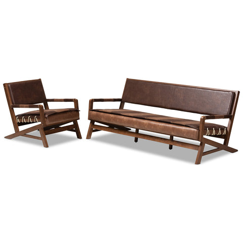 Baxton Studio Rovelyn Brown Faux Leather Walnut Wood 2-Piece Living Room Set