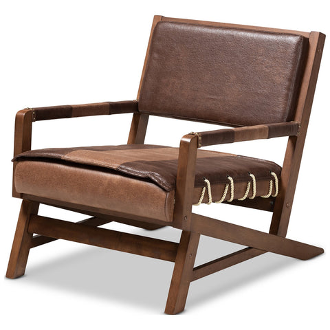 Baxton Studio Rovelyn Brown Faux Leather Upholstered Walnut Wood Lounge Chair