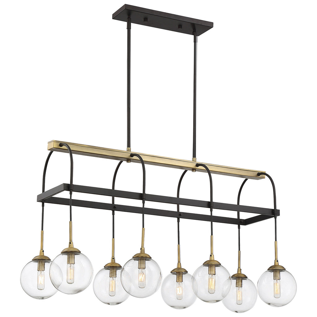 Fulton 8-Light Chandelier in English Bronze and Warm Brass