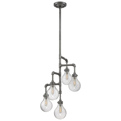 Dansk 5-Light Pendant in Galvanized Metal