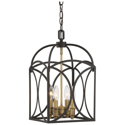 Talbot 4-Light Small Foyer in English Bronze and Warm Brass