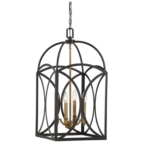 Talbot 4-Light Medium Foyer in English Bronze and Warm Brass