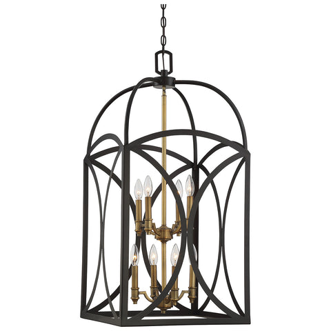 Talbot 8-Light Large Foyer in English Bronze and Warm Brass