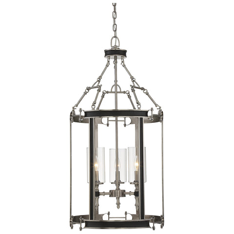 Gramercy 3-Light Foyer in Polished Pewter with Black