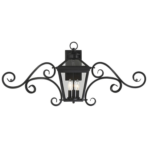 "Ellijay 9"" Steel Wall Lantern with Mustache in Black"