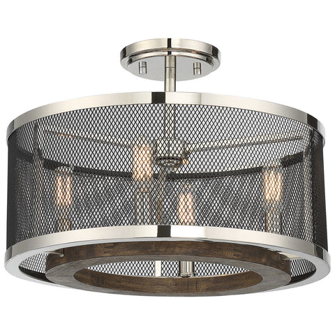 Valcour 4-Light Semi-Flush in Polished Nickel