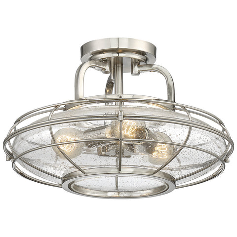 Connell 3-Light Semi-Flush in Satin Nickel