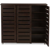 Adalwin 3-Door Dark Brown Wooden Entryway Shoes Storage Cabinet