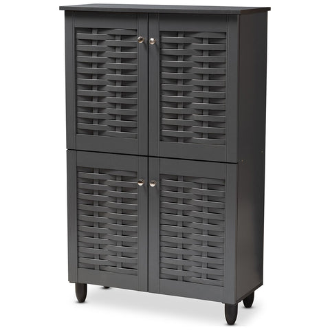 Baxton Studio Winda Dark Gray 4-Door Wooden Entryway Shoe Storage Cabinet