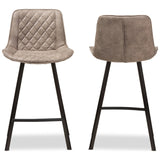 Baxton Studio Pickford Light Brown Fabric Upholstered Counter Stool, Set of 2