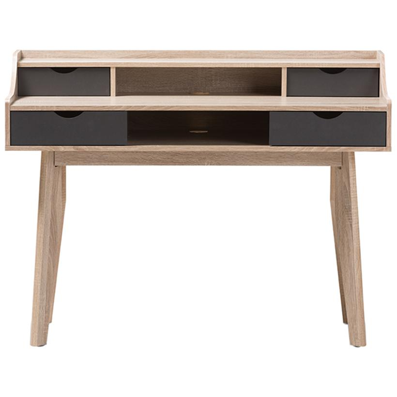 Baxton Studio Fella 4-Drawer in Light Brown and Gray